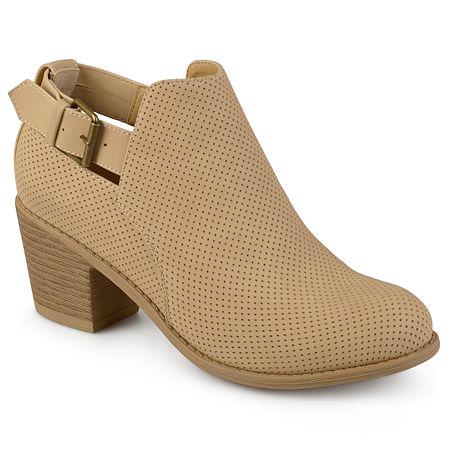 Journee Collection Womens Averi Booties Stacked Heel, 9 Medium, Brown