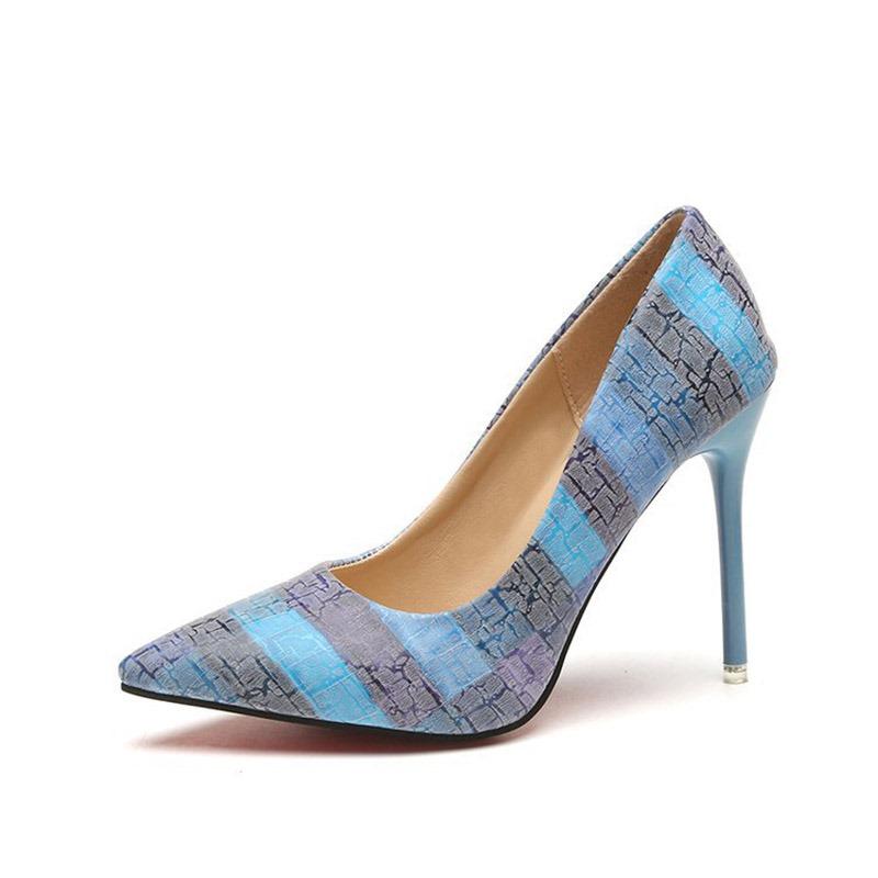 Ericdress Color Block Slip-On Stiletto Heel Pointed Toe Pumps