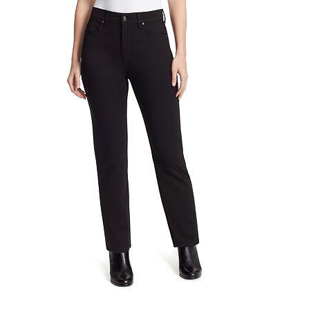 Gloria Vanderbilt Amanda Womens High Rise Slim Pant, 10 Petite , Black