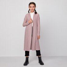 Girls Shawl Collar Drop Shoulder Waffle Knit Coat