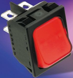 TE Connectivity Illuminated Double Pole Single Throw (DPST), On-Off Rocker Switch Panel Mount