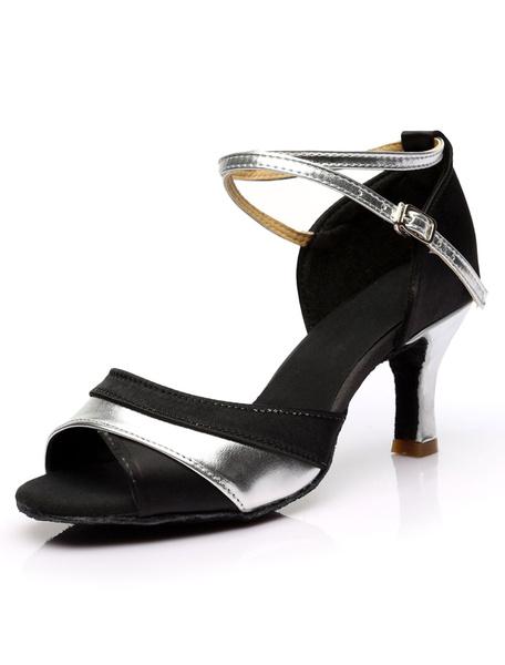 Milanoo Zapatos de salon de saten negro rojo para las mujeres