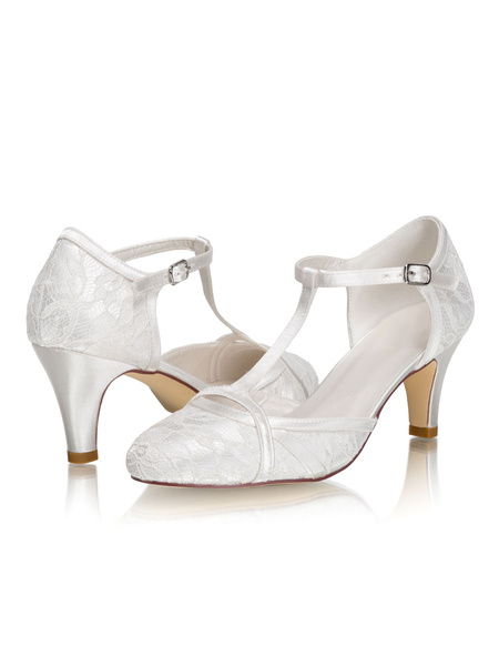 Milanoo Wedding Shoes T-type Ivory Satin Kitten Heel Bridal Shoes