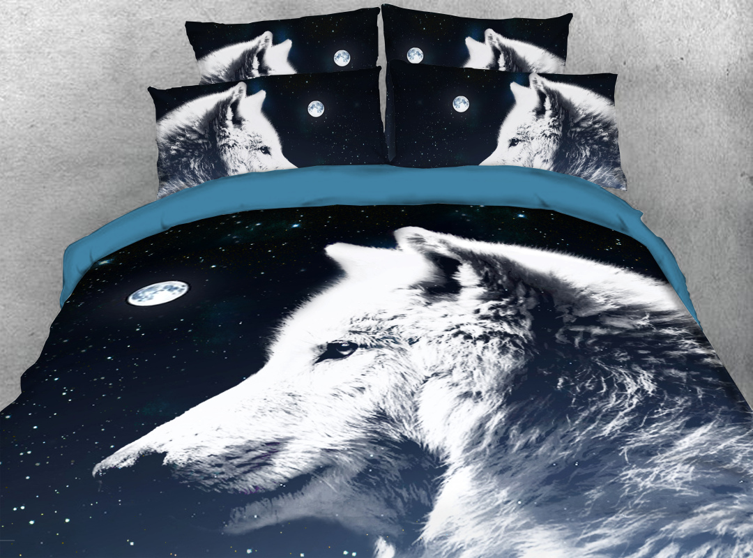 Night Wolf 4-Piece Soft 3D Animal Bedding Sets Zipper Colorfast Hard-wearing Duvet Cover with Corner Ties