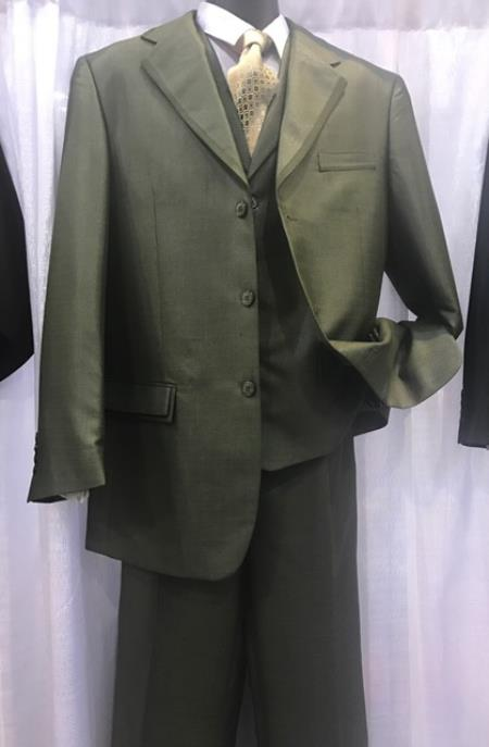 Milano Moda Mens High Fashion Vested Suits Olive