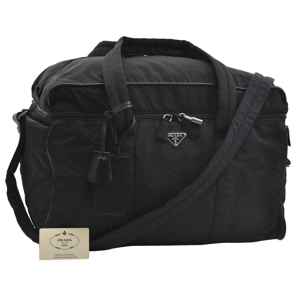 Prada N Black Leather Travel bag for Women N