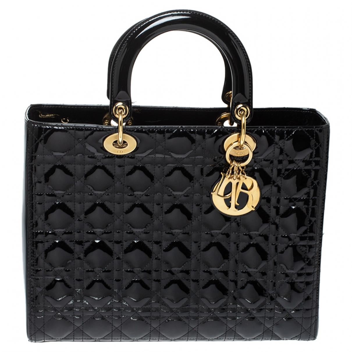 Dior Lady Dior Handtasche in  Schwarz Lackleder