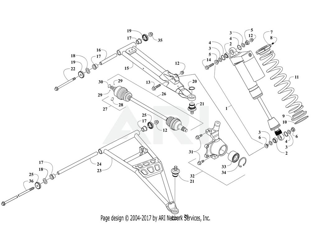 Arctic Cat OEM 1503-324 A Arm Fr Lwr Right Hand Blk Assembly | (Inc. 17 18 20 21 And 24 25)