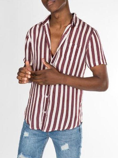 Yoins Men Vertical Stripe Pattern Comfy Fresh Style Button Shirt