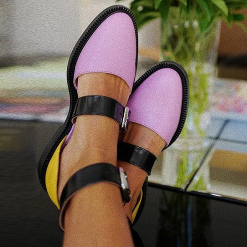 Ericdress PU Round Toe Block Heel Color Block Women's Flats