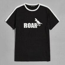 T-Shirt mit seitlichem Streifen und Dinosaurier & Buchstaben Muster