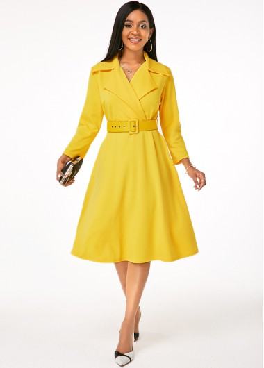 Skater Dresses Buckle Belted Notch Collar Yellow Dress - L