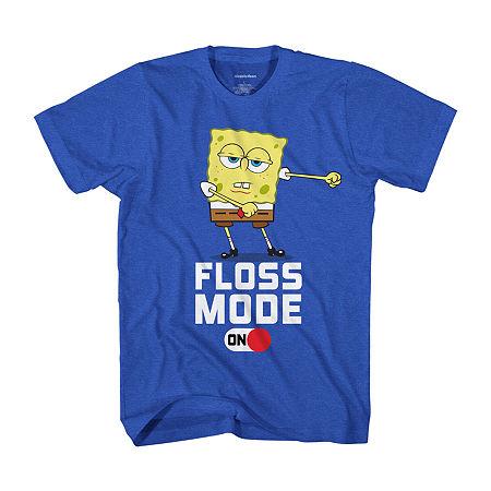 Little & Big Boys Crew Neck Spongebob Short Sleeve Graphic T-Shirt, Small (8) , Blue