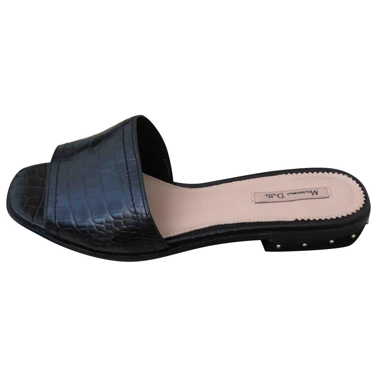 Massimo Dutti \N Black Leather Sandals for Women 38 EU