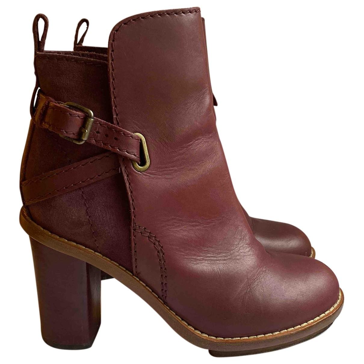Acne Studios - Boots Cypress pour femme en cuir - bordeaux