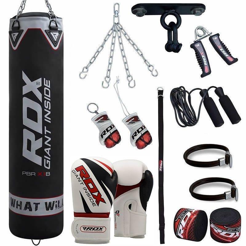 RDX Pro 13pc Lourd Sac de Frappe and Set de boxe 16oz  5 ft Noir Cuir PU