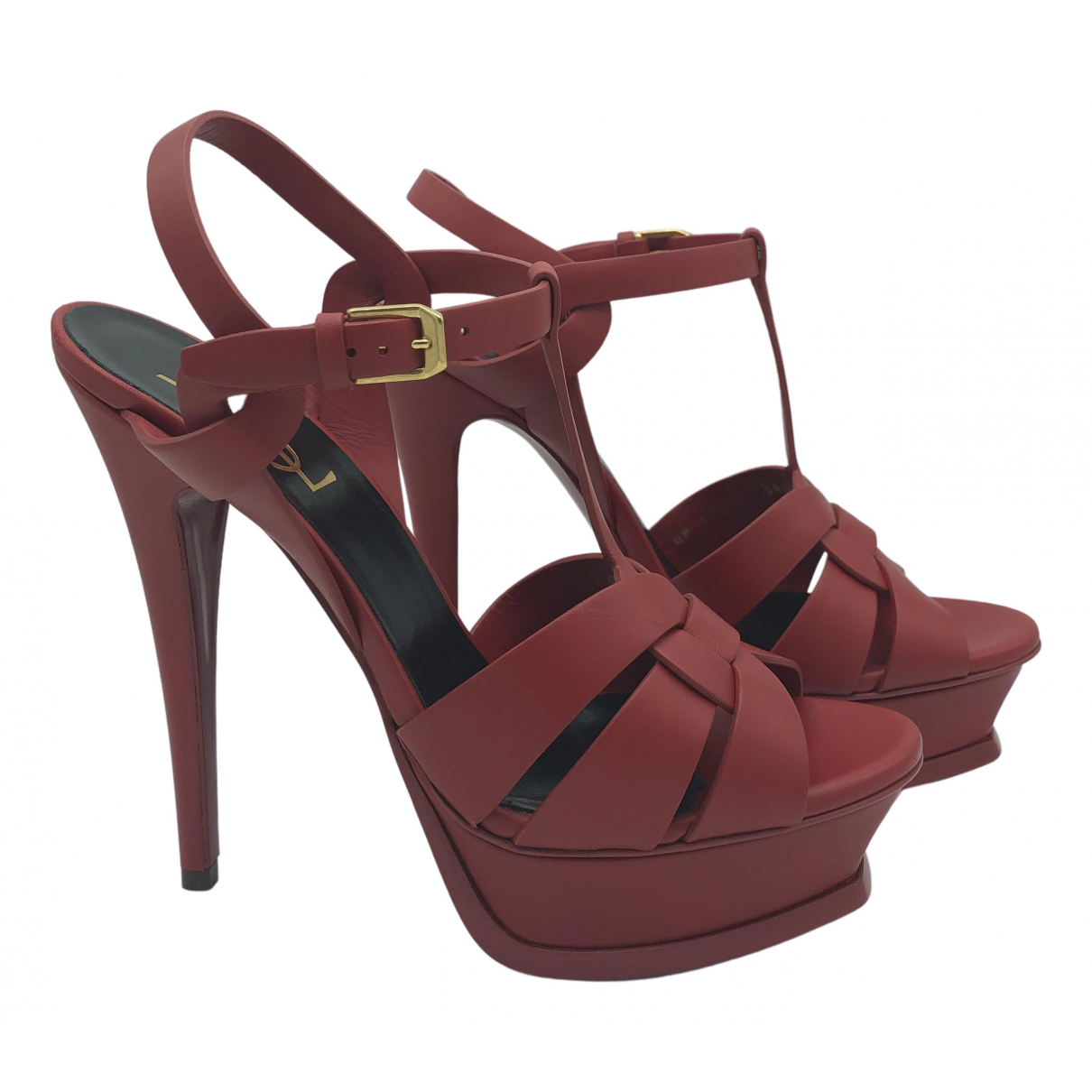 Saint Laurent Tribute Red Leather Sandals for Women 38 EU