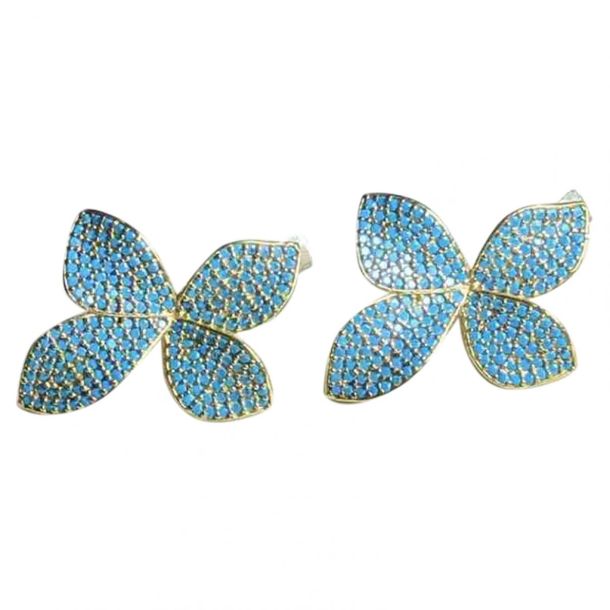 Non Signé / Unsigned Motifs Floraux Blue Silver Earrings for Women \N