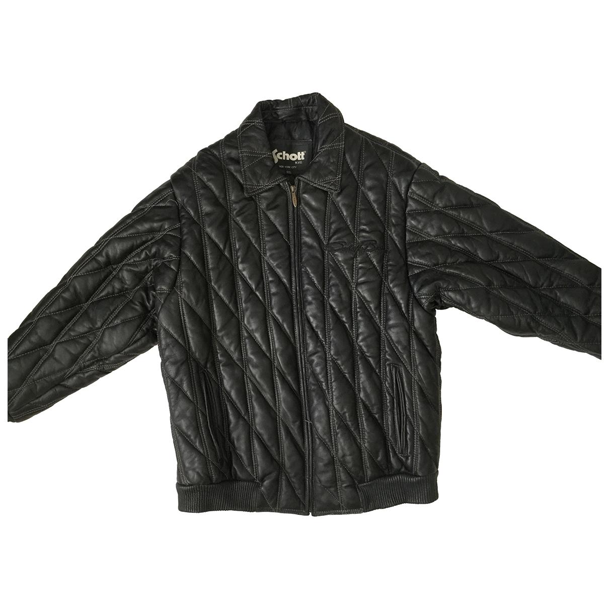Schott - Vestes.Blousons   pour homme en cuir - noir
