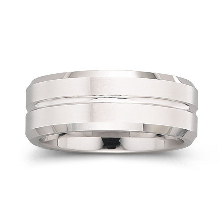 Tungsten Ring, Mens 8mm Groove Center Band, 11 1/2 , No Color Family