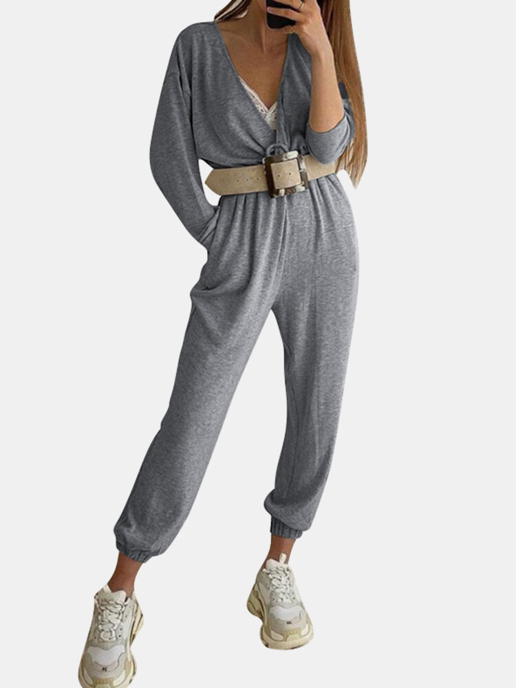 Casual Solid Color V-neck Pockets Ankle-tied Long Sleeve Jumpsuit