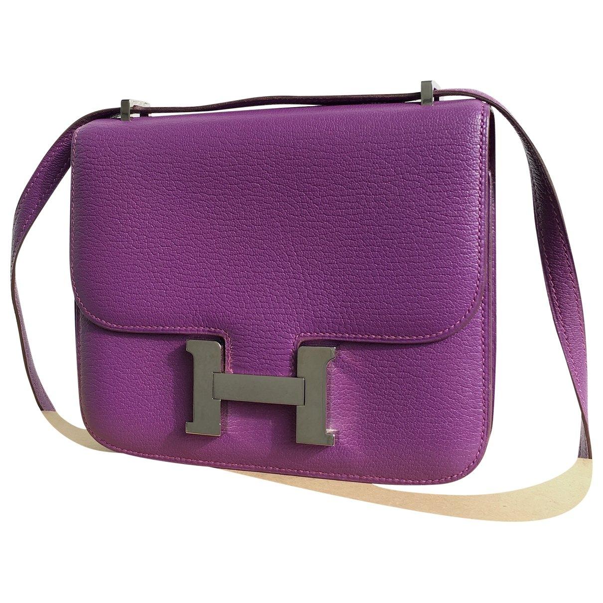 Hermès Constance Purple Leather handbag for Women \N