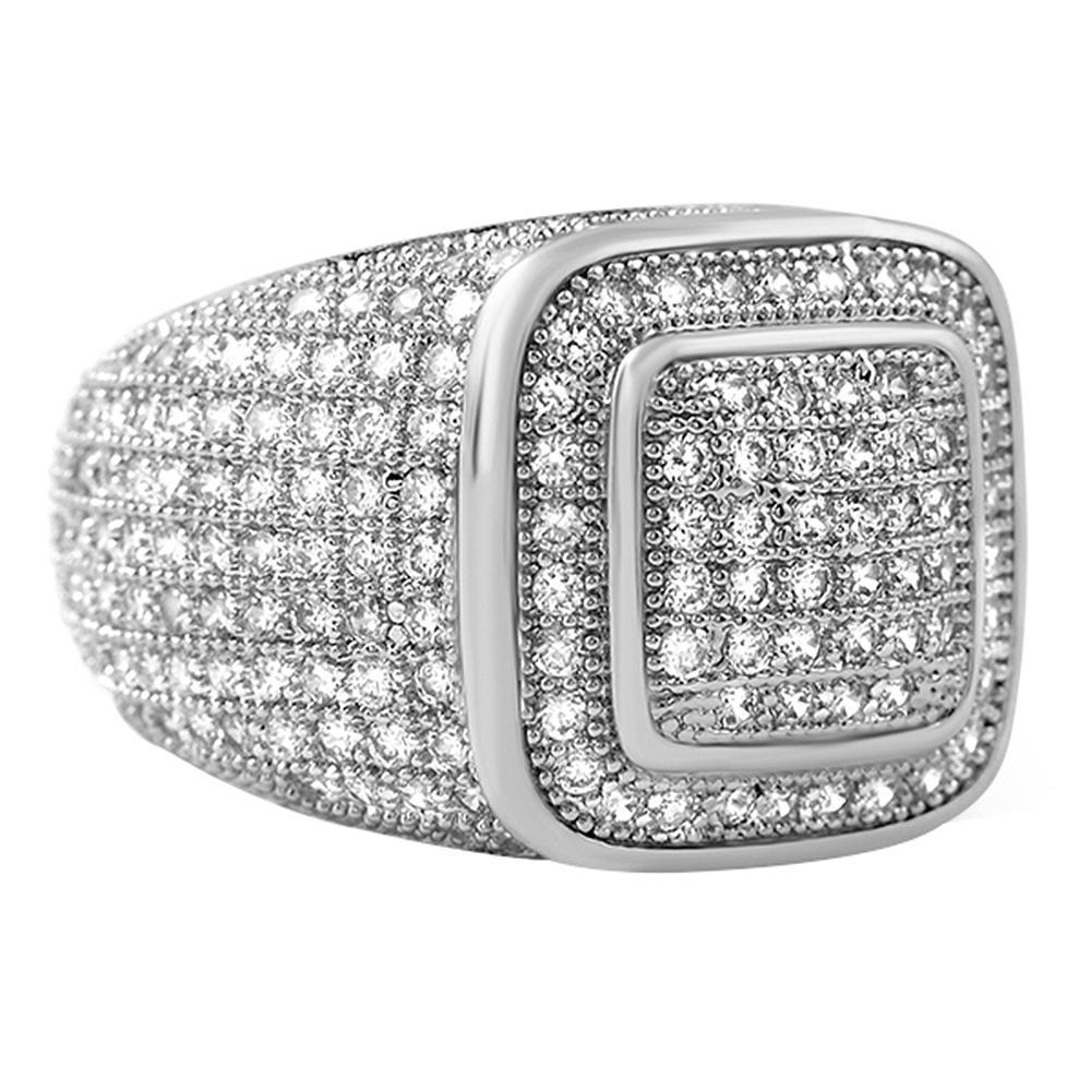 Classy Rhodium CZ Bling Bling Ring