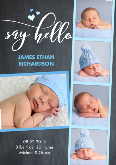 Baby Boy Announcements Flat Matte Photo Paper Cards with Envelopes, 5x7, Card & Stationery -Baby Chalk Blue