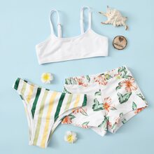 Girls Striped & Plant Print Bikini Swimsuit