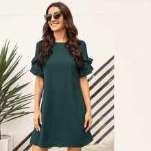 Einfarbiges Tunika Kleid mit Rueschenbesatz