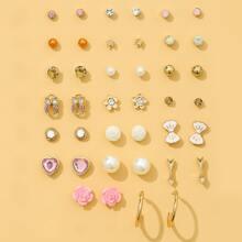 20pairs Faux Pearl Flower Decor Earrings