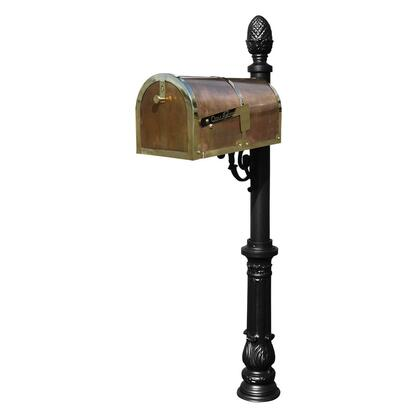 MB-3000-POL-LP703-BL Provincial Collection Brass Mailbox in Polished Brass with decorative Lewiston post  Ornate base and #3 Pineapple finial in