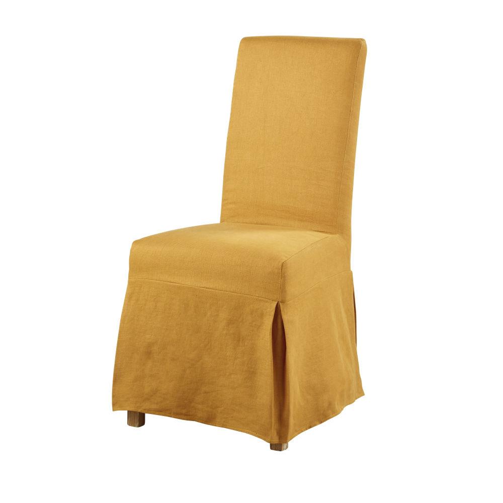Leinenhousse fuer hohe Stuhllehne, ocker