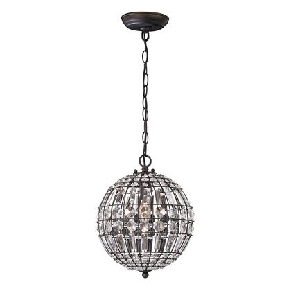 122-015 Round Crystal Mini Pendant  In Clear Crystal  Dark