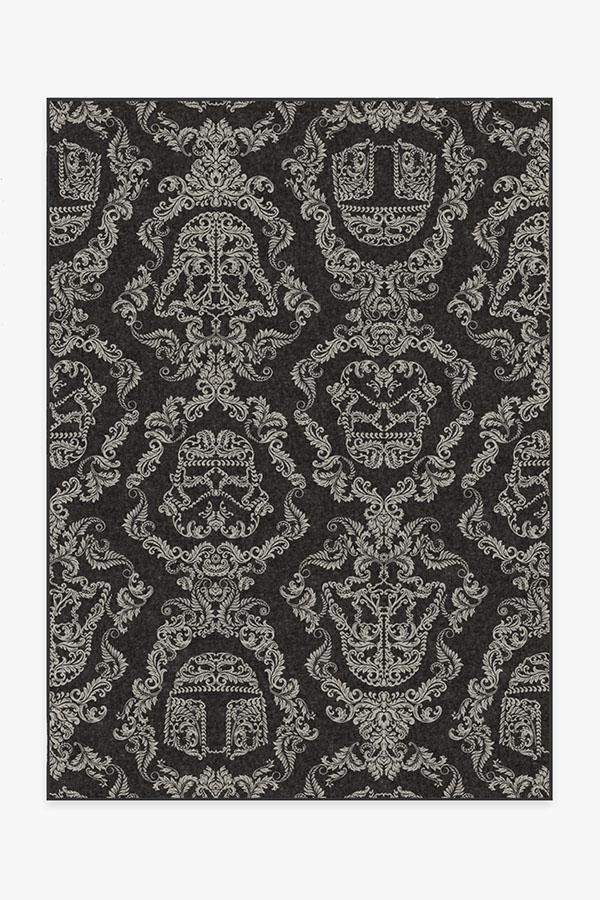 Washable Rug Cover | Dark Side Damask Charcoal Rug | Stain-Resistant | Ruggable | 5'x7'