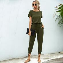 Solid Tie Front Keyhole Back Solid Jumpsuit