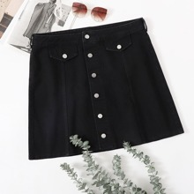 Plus Single Breasted Front Denim Skirt