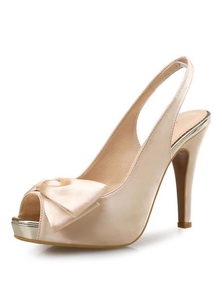 Milanoo Platform High Heel Sandals Womens Satin Peep Toe Bow Slingbacks Stiletto Heel Sandal