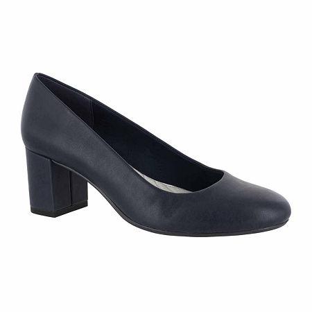 Easy Street Womens Proper Pumps Block Heel, 9 Extra Wide, Blue