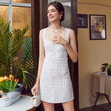 Vestidos Cremallera A cuadros Blanco Elegante