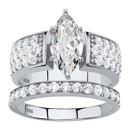 DiamonArt Womens 3 CT. T.W. White Cubic Zirconia Platinum Over Silver Bridal Set, 8 , No Color Family