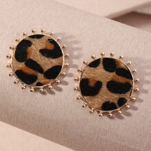 Leopard Round Earrings