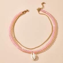 Mehrschichtige Halskette mit Muschel Anhaenger