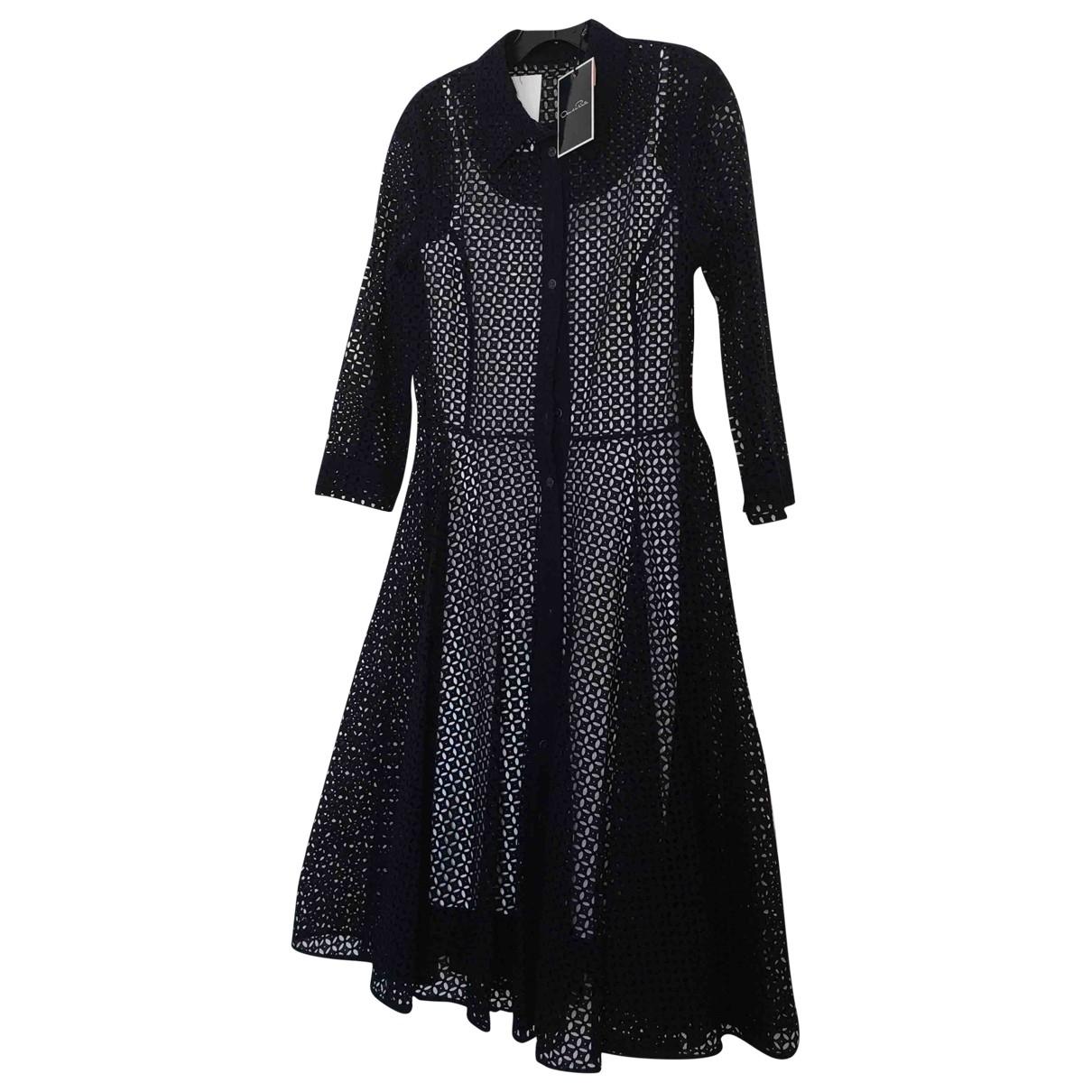 Oscar De La Renta \N Navy Cotton - elasthane dress for Women 6 US