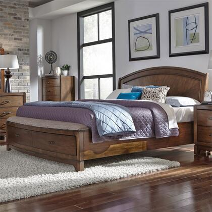 Avalon 705-BR-QPBS Queen Panel Storage Bed with Framed Drawer Fronts  Felt Lined Top Drawers  Cup Pull Hardware in Pebble Brown
