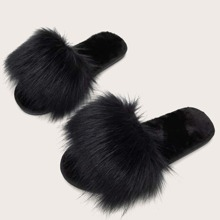 Faux Fur Decor Fluffy Slippers