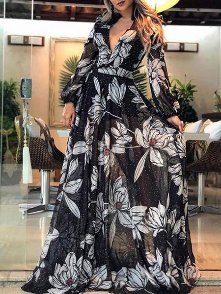 Milanoo Vestido largo negro  Moda Mujer con manga larga de chifon Vestidos con flor con estampado de flores para moldear el cuerpo con cuello en V