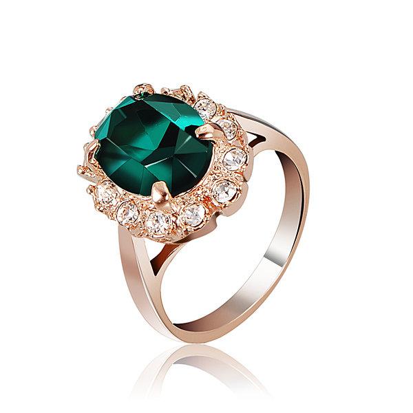 Emerald Wine Red Rose Gold Crystal Finger Ring