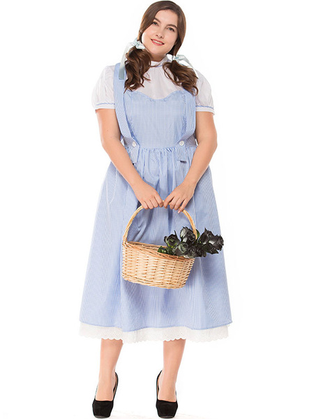 Milanoo Women Halloween Costumes Baby Blue Maid Jumper Skirt Cotton Lace Trim Holidays Costumes