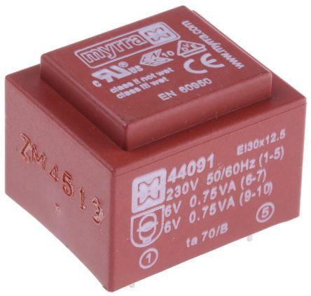 Myrra 6V ac 2 Output Through Hole PCB Transformer, 1.5VA